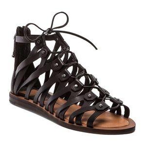 Dolce Vita | Black Lace Up Fray Gladiator Sandals